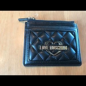 Love Moschino Quilted Faux Leather Card Holder nwt